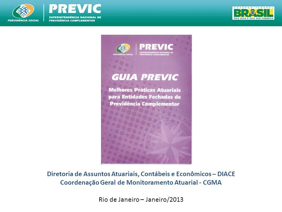 Diretoria de Assuntos Atuariais, Contábeis e Econômicos – DIACE Coordenação Geral de Monitoramento Atuarial - CGMA Rio de Janeiro – Janeiro/2013