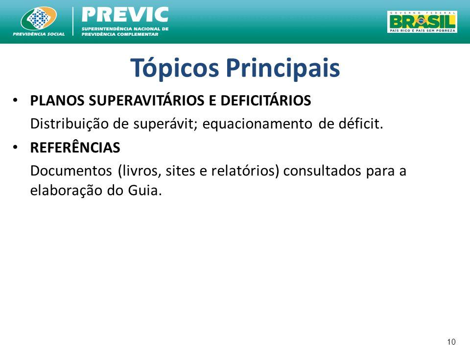 10 Tópicos Principais PLANOS SUPERAVITÁRIOS E DEFICITÁRIOS Distribuição de superávit; equacionamento de déficit. REFERÊNCIAS Documentos (livros, sites