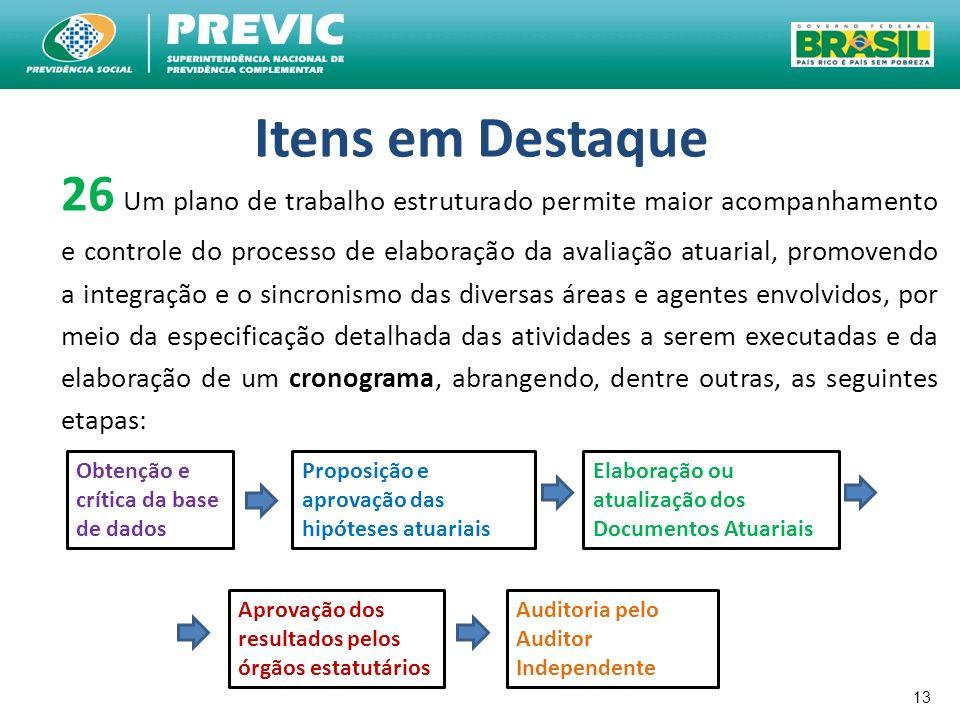 13 Itens em Destaque 26 Um plano de trabalho estruturado permite maior acompanhamento e controle do processo de elaboração da avaliação atuarial, prom
