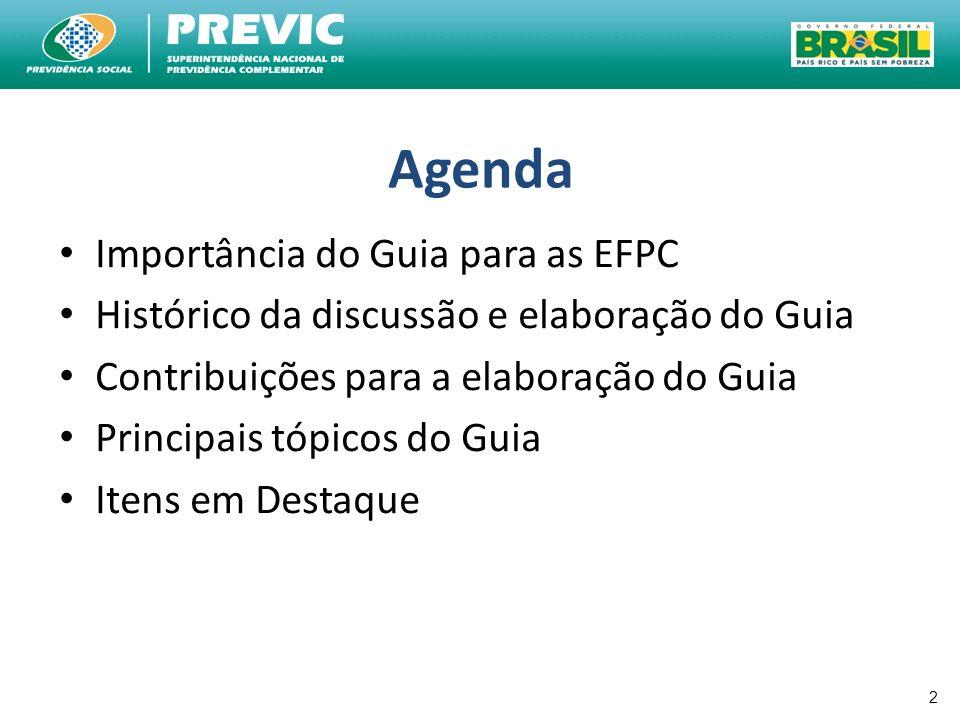 Agenda Importância do Guia para as EFPC Histórico da discussão e elaboração do Guia Contribuições para a elaboração do Guia Principais tópicos do Guia
