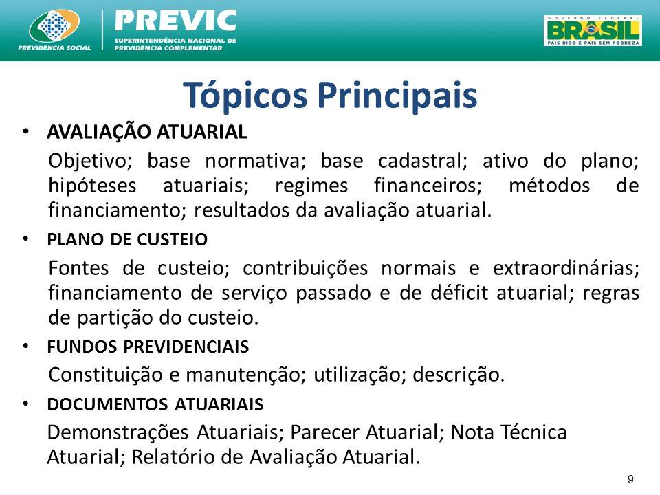 9 Tópicos Principais AVALIAÇÃO ATUARIAL Objetivo; base normativa; base cadastral; ativo do plano; hipóteses atuariais; regimes financeiros; métodos de