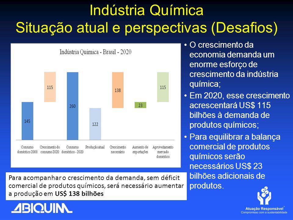 Indústria Química Situação atual e perspectivas (Desafios) O crescimento da economia demanda um enorme esforço de crescimento da indústria química; Em