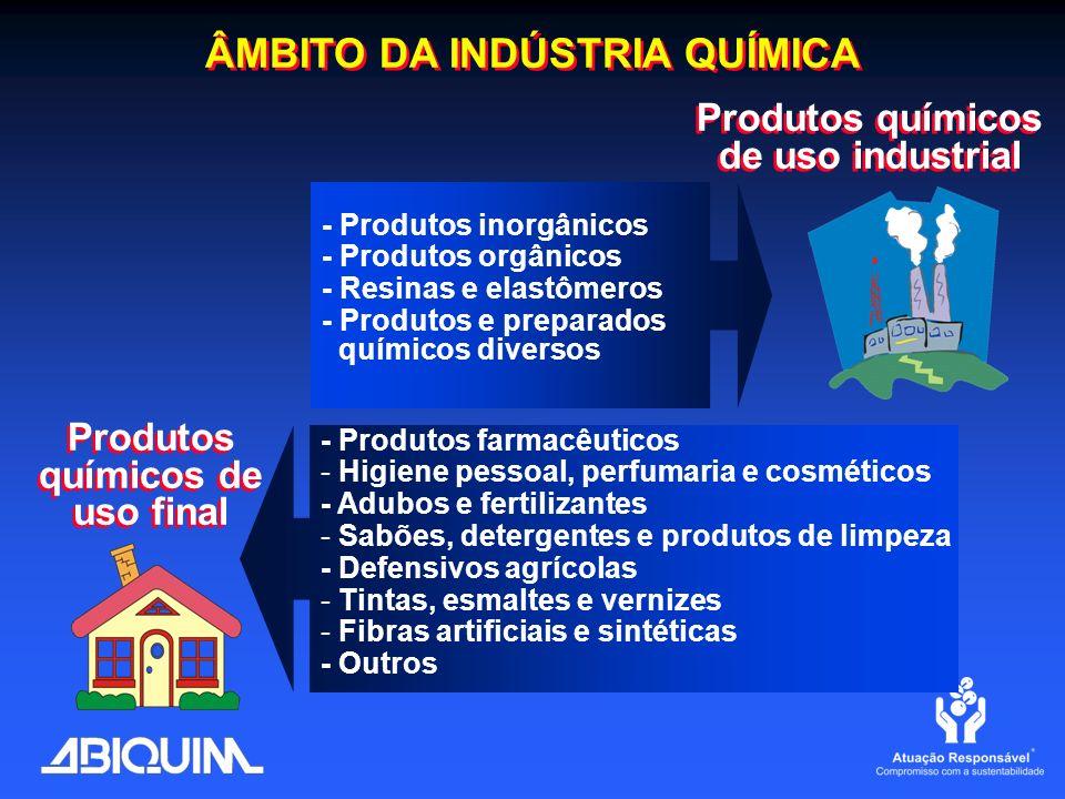 ÂMBITO DA INDÚSTRIA QUÍMICA Produtos químicos de uso final - Produtos farmacêuticos - Higiene pessoal, perfumaria e cosméticos - Adubos e fertilizante