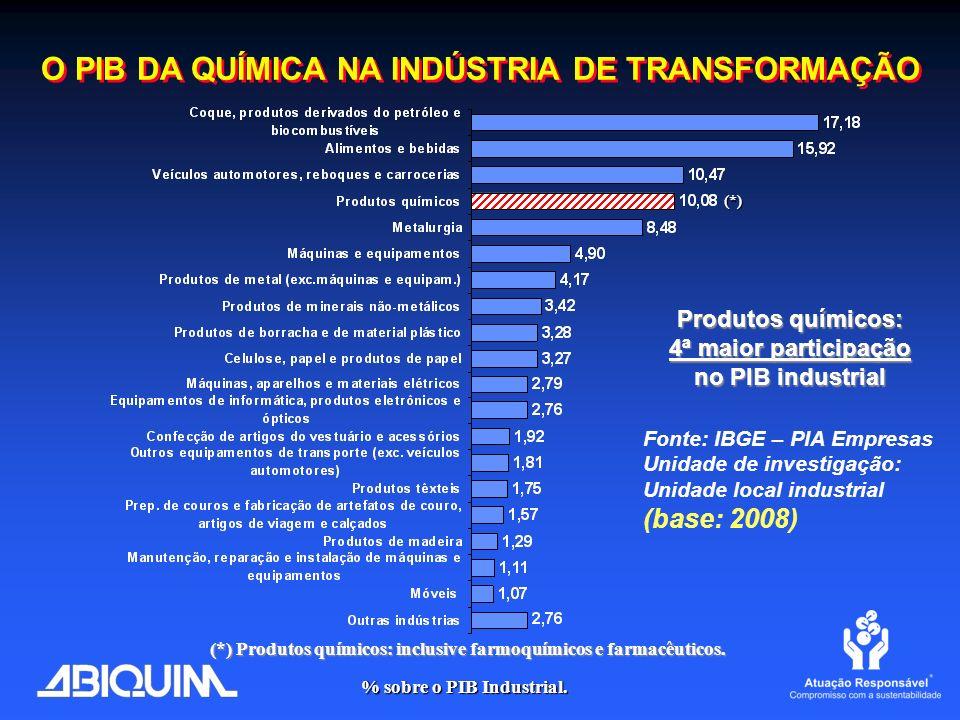 O PIB DA QUÍMICA NA INDÚSTRIA DE TRANSFORMAÇÃO Fonte: IBGE – PIA Empresas Unidade de investigação: Unidade local industrial (base: 2008) (*) Produtos