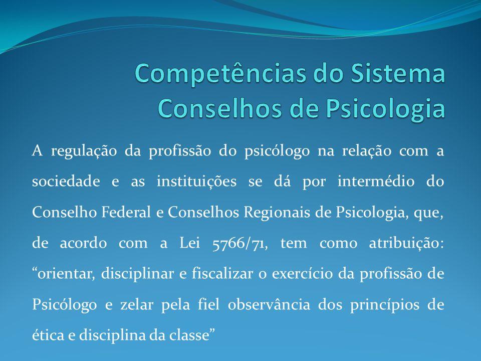 A regulação da profissão do psicólogo na relação com a sociedade e as instituições se dá por intermédio do Conselho Federal e Conselhos Regionais de P
