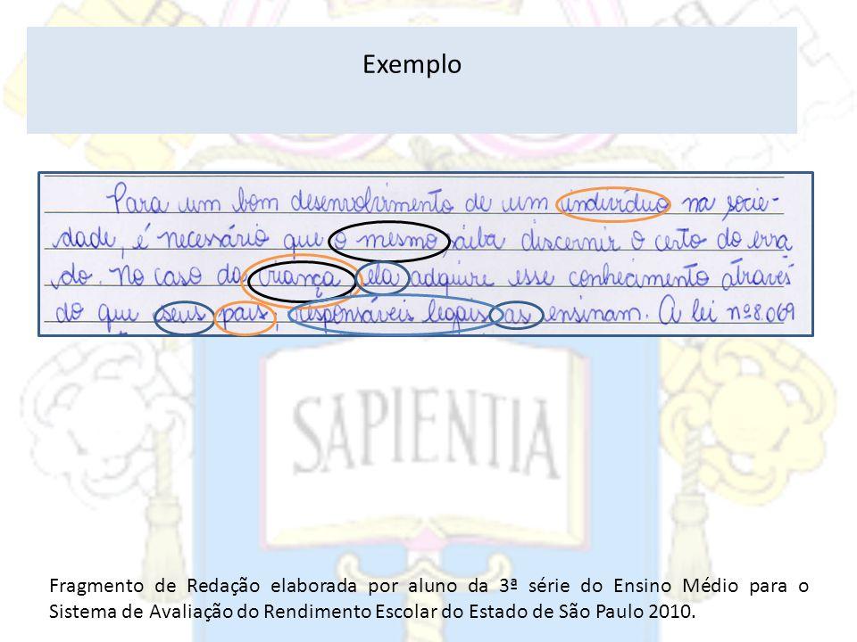 Exemplo Fragmento de Redação elaborada por aluno da 3ª série do Ensino Médio para o Sistema de Avaliação do Rendimento Escolar do Estado de São Paulo