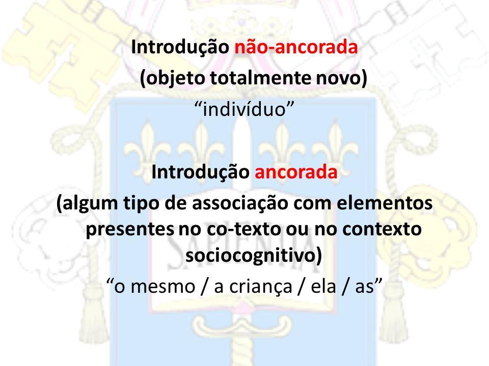 Introdução não-ancorada (objeto totalmente novo) indivíduo Introdução ancorada (algum tipo de associação com elementos presentes no co-texto ou no con