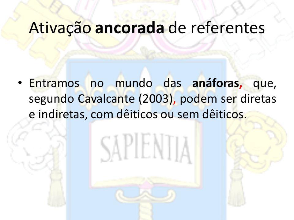 Ativação ancorada de referentes Entramos no mundo das anáforas, que, segundo Cavalcante (2003), podem ser diretas e indiretas, com dêiticos ou sem dêi