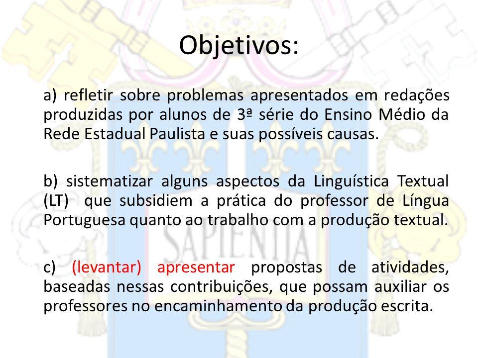 Objetivos: a) refletir sobre problemas apresentados em redações produzidas por alunos de 3ª série do Ensino Médio da Rede Estadual Paulista e suas pos