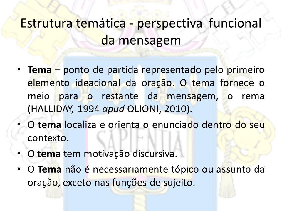 Estrutura temática - perspectiva funcional da mensagem Tema – ponto de partida representado pelo primeiro elemento ideacional da oração. O tema fornec