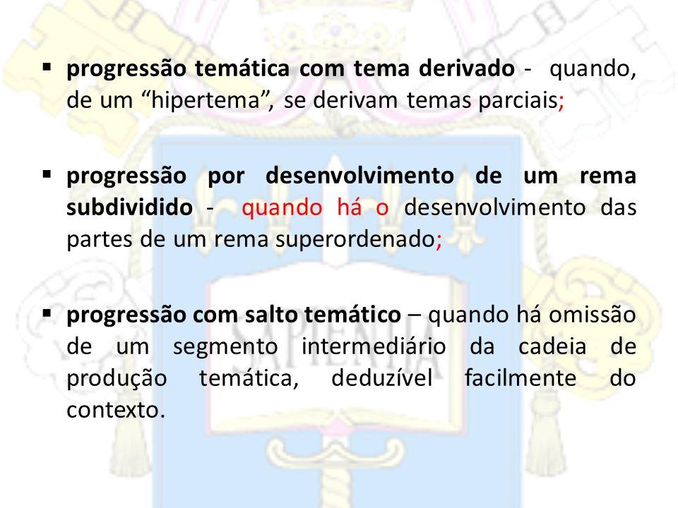 progressão temática com tema derivado - quando, de um hipertema, se derivam temas parciais; progressão por desenvolvimento de um rema subdividido - qu