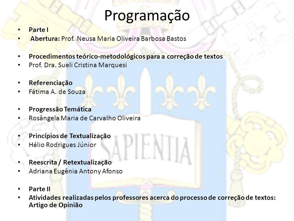 Programação Parte I Abertura: Prof. Neusa Maria Oliveira Barbosa Bastos Procedimentos teórico-metodológicos para a correção de textos Prof. Dra. Sueli