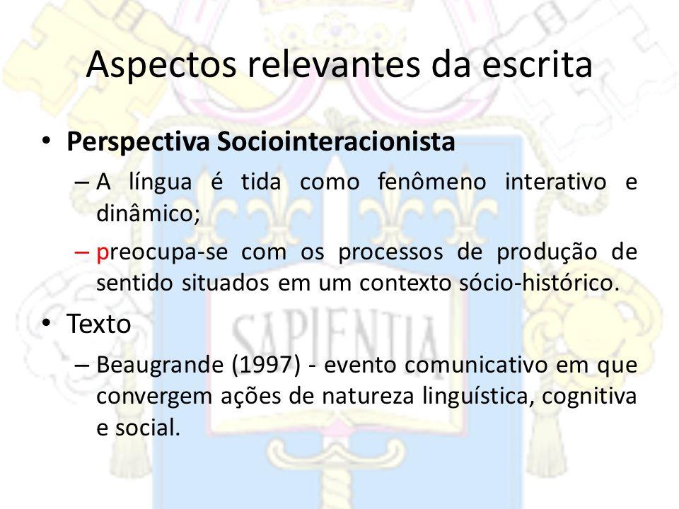 Aspectos relevantes da escrita Perspectiva Sociointeracionista – A língua é tida como fenômeno interativo e dinâmico; – preocupa-se com os processos d