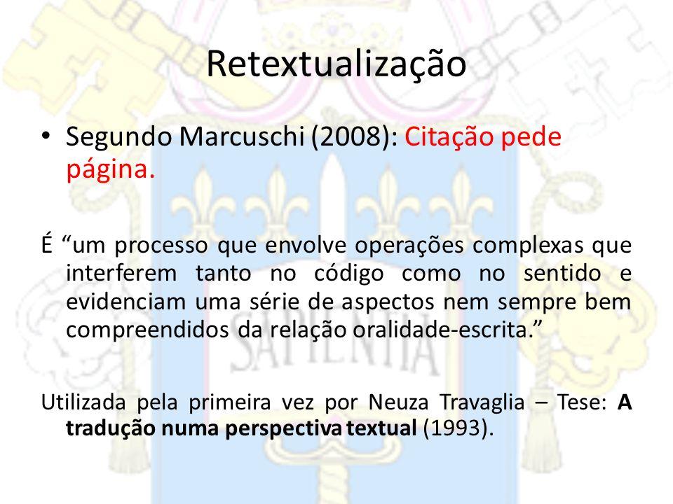 Retextualização Segundo Marcuschi (2008): Citação pede página. É um processo que envolve operações complexas que interferem tanto no código como no se