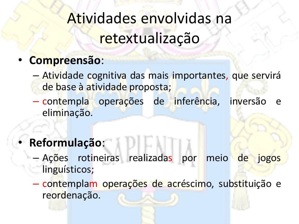 Atividades envolvidas na retextualização Compreensão: – Atividade cognitiva das mais importantes, que servirá de base à atividade proposta; – contempl