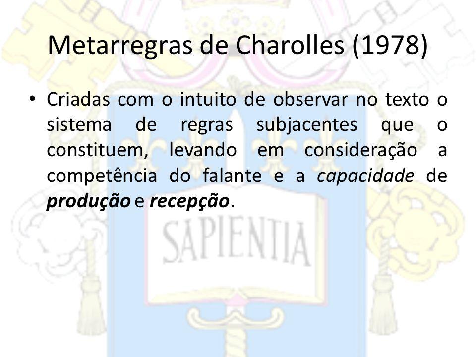 Metarregras de Charolles (1978) Criadas com o intuito de observar no texto o sistema de regras subjacentes que o constituem, levando em consideração a