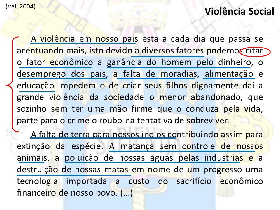 A violência em nosso pais esta a cada dia que passa se acentuando mais, isto devido a diversos fatores podemos citar o fator econômico a ganância do h