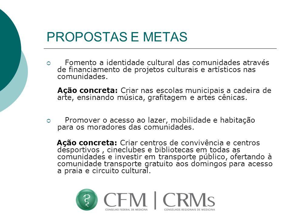PROPOSTAS E METAS Fomento a identidade cultural das comunidades através de financiamento de projetos culturais e artísticos nas comunidades. Ação conc