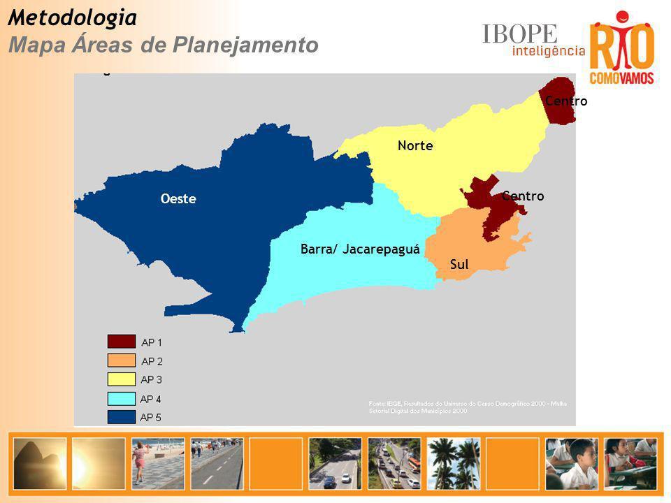 Metodologia Mapa Áreas de Planejamento Centro Sul Oeste Norte Barra/ Jacarepaguá