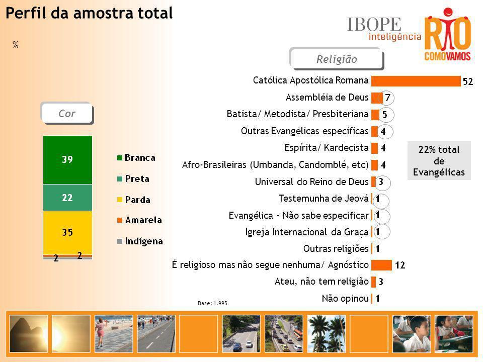 Região Centr o 5% Sul 19% Norte 40% Oeste 25% Barra/ Jacarepaguá 12% Base: 1.995 % Tempo de Moradia Perfil da amostra total