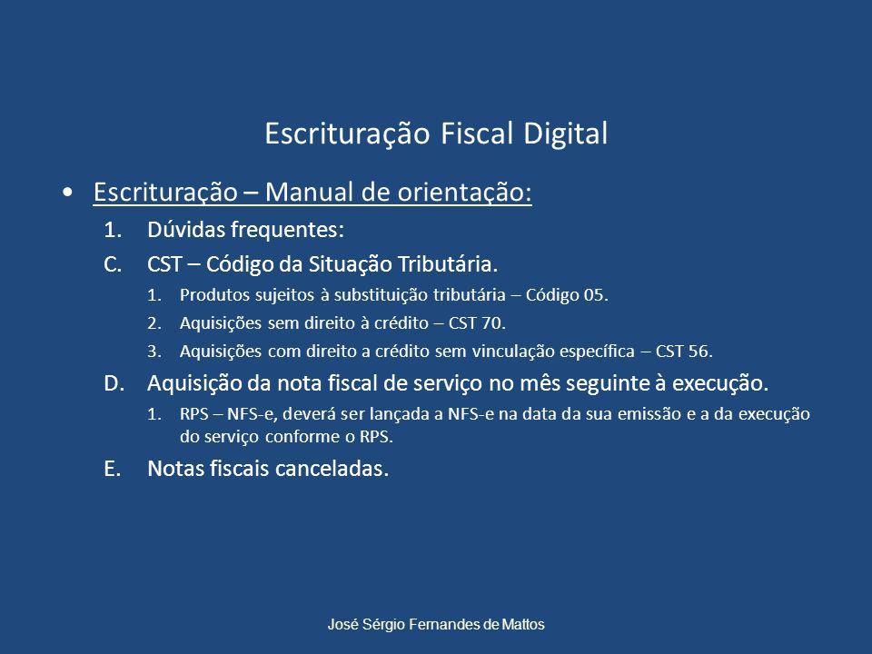 Escrituração Fiscal Digital Escrituração – Manual de orientação: 1.Dúvidas frequentes: C.CST – Código da Situação Tributária. 1.Produtos sujeitos à su