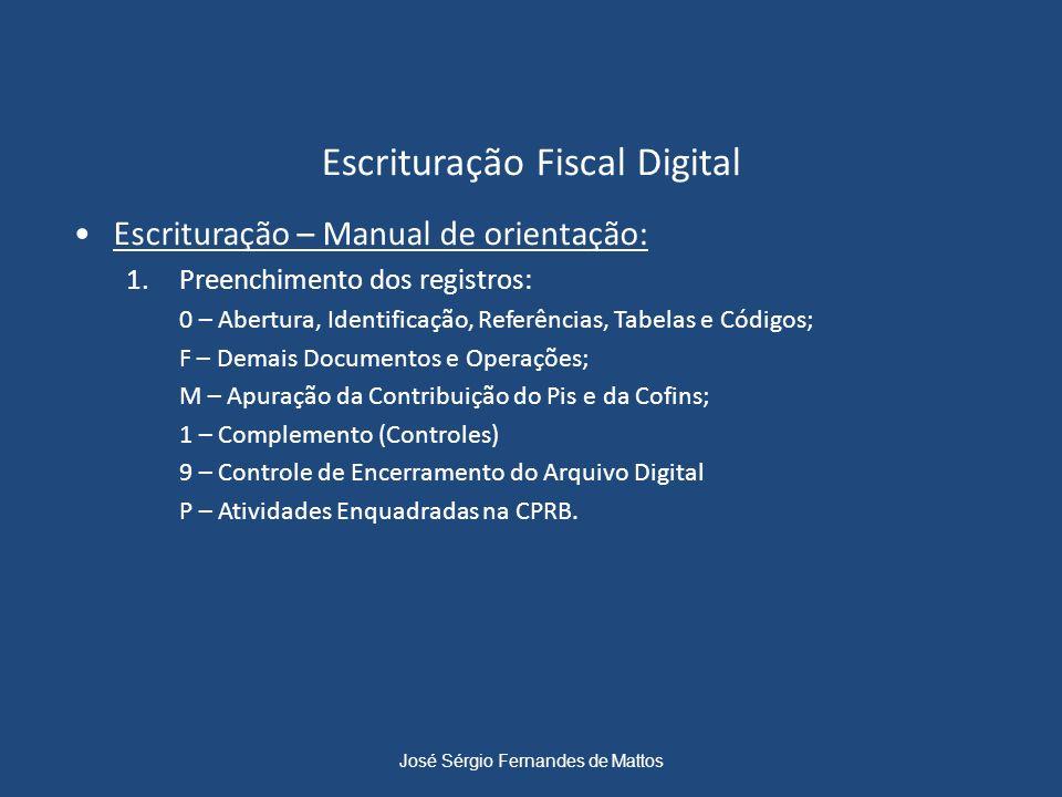 Escrituração Fiscal Digital Escrituração – Manual de orientação: 1.Preenchimento dos registros: 0 – Abertura, Identificação, Referências, Tabelas e Có
