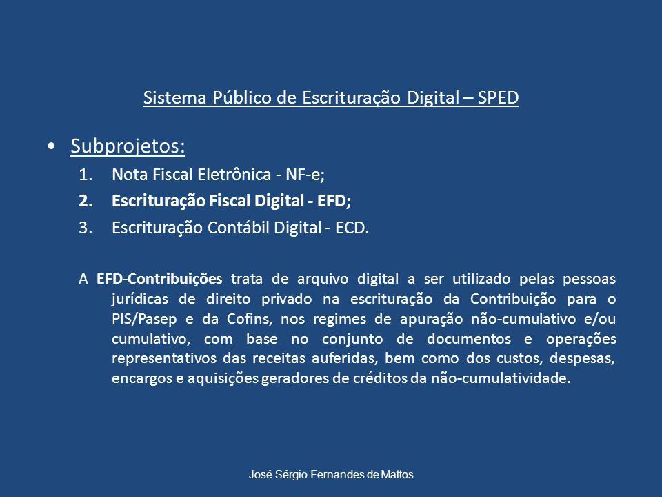 Sistema Público de Escrituração Digital – SPED Subprojetos: 1.Nota Fiscal Eletrônica - NF-e; 2.Escrituração Fiscal Digital - EFD; 3.Escrituração Contá