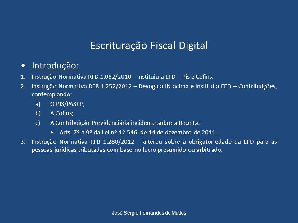 Escrituração Fiscal Digital Introdução: 1.Instrução Normativa RFB 1.052/2010 – Instituiu a EFD – Pis e Cofins. 2.Instrução Normativa RFB 1.252/2012 –