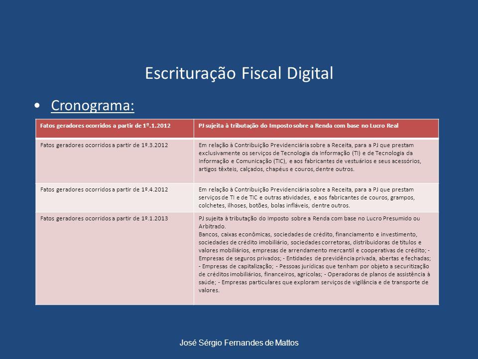 Escrituração Fiscal Digital Cronograma: José Sérgio Fernandes de Mattos Fatos geradores ocorridos a partir de 1º.1.2012PJ sujeita à tributação do Impo