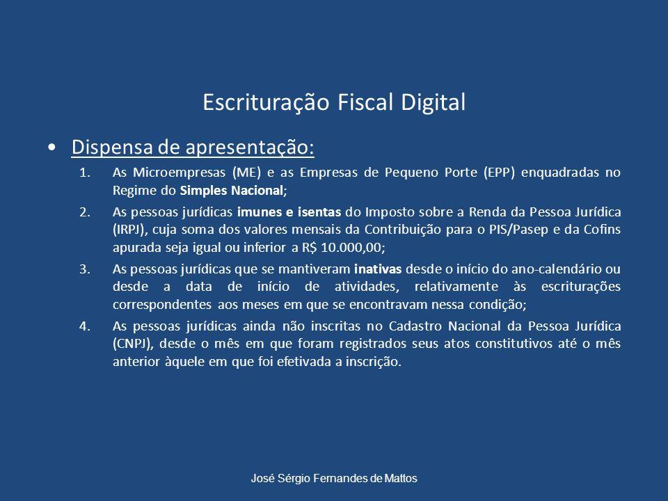 Escrituração Fiscal Digital Dispensa de apresentação: 1.As Microempresas (ME) e as Empresas de Pequeno Porte (EPP) enquadradas no Regime do Simples Na