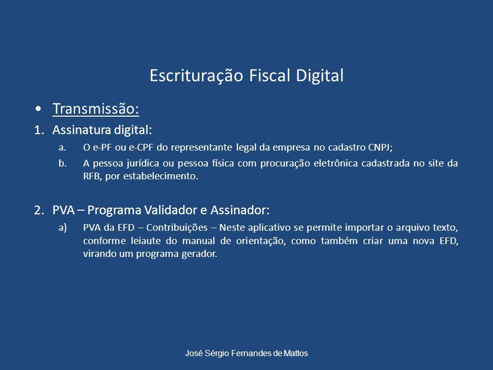 Escrituração Fiscal Digital Transmissão: 1.Assinatura digital: a.O e-PF ou e-CPF do representante legal da empresa no cadastro CNPJ; b.A pessoa jurídi