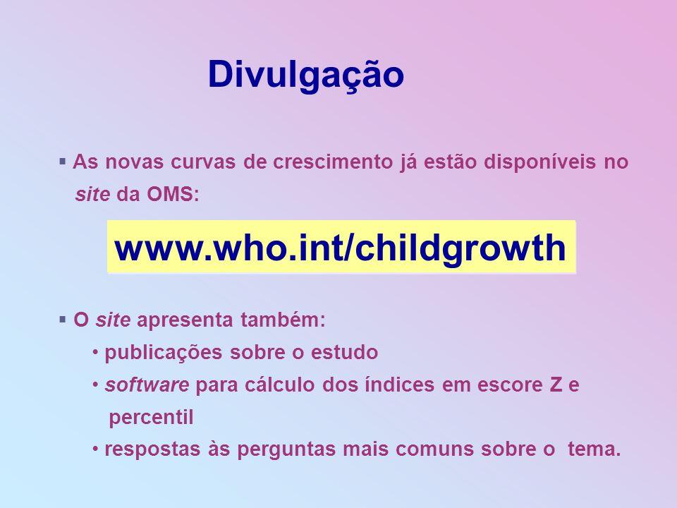 As novas curvas de crescimento já estão disponíveis no site da OMS: O site apresenta também: publicações sobre o estudo software para cálculo dos índi