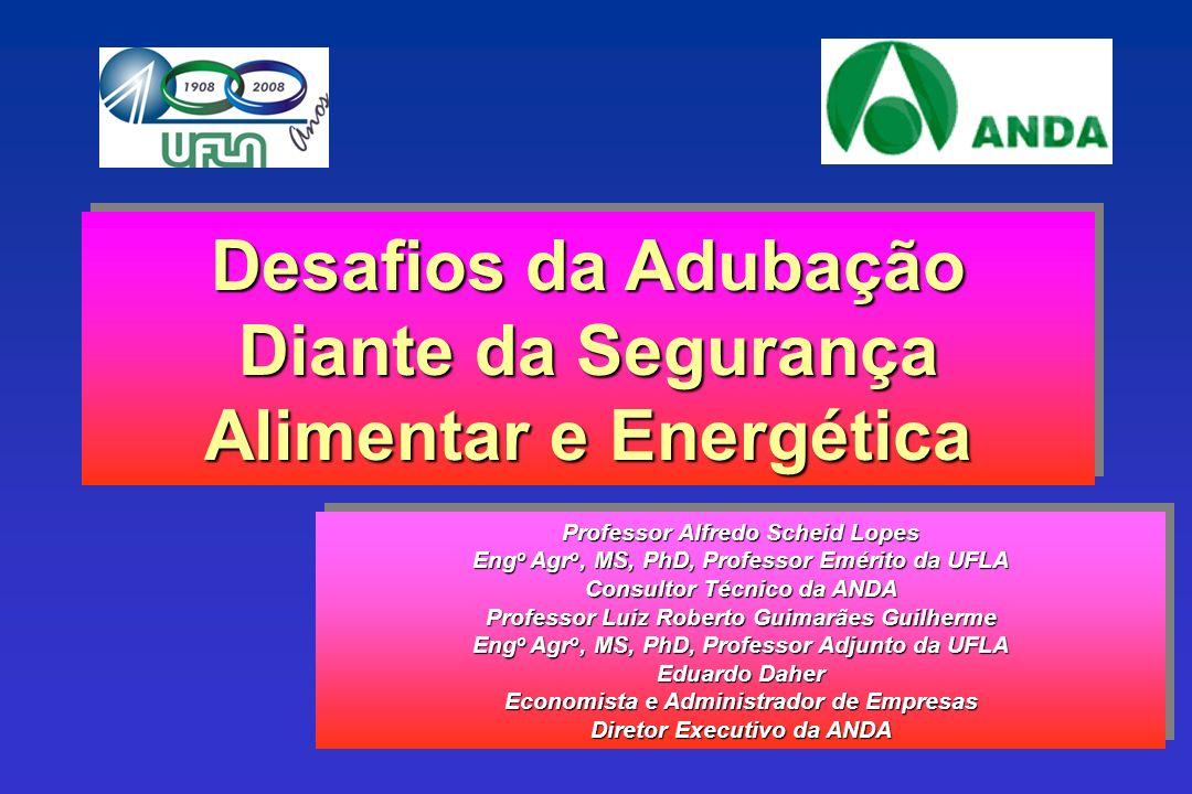 Professor Alfredo Scheid Lopes Eng o Agr o, MS, PhD, Professor Emérito da UFLA Consultor Técnico da ANDA Professor Luiz Roberto Guimarães Guilherme En