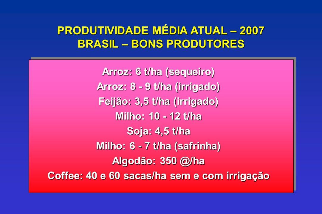 PRODUTIVIDADE MÉDIA ATUAL – 2007 BRASIL – BONS PRODUTORES Arroz: 6 t/ha (sequeiro) Arroz: 8 - 9 t/ha (irrigado) Feijão: 3,5 t/ha (irrigado) Milho: 10