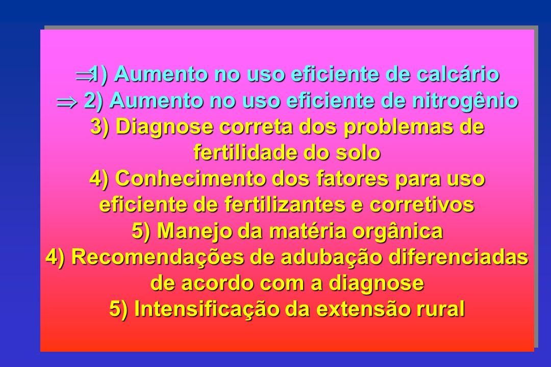 1) Aumento no uso eficiente de calcário 2) Aumento no uso eficiente de nitrogênio 3) Diagnose correta dos problemas de fertilidade do solo 4) Conhecim