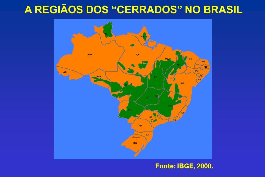 A REGIÃOS DOS CERRADOS NO BRASIL Fonte: IBGE, 2000.