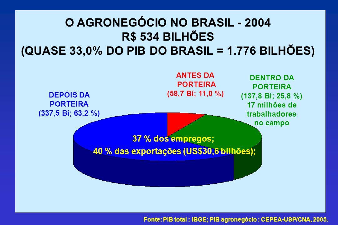 O AGRONEGÓCIO NO BRASIL - 2004 R$ 534 BILHÕES (QUASE 33,0% DO PIB DO BRASIL = 1.776 BILHÕES) ANTES DA PORTEIRA (58,7 Bi; 11,0 %) DENTRO DA PORTEIRA (1