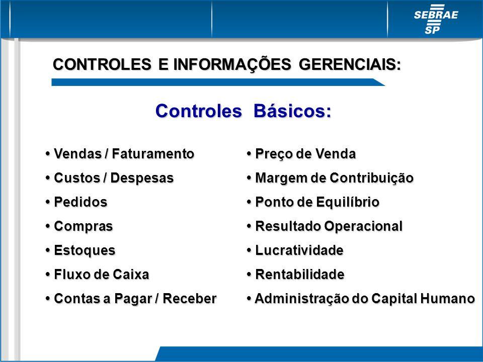 CONTROLES E INFORMAÇÕES GERENCIAIS: Controles Básicos: Vendas / Faturamento Vendas / Faturamento Custos / Despesas Custos / Despesas Pedidos Pedidos C