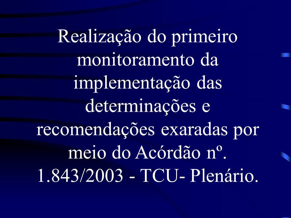 Realização do primeiro monitoramento da implementação das determinações e recomendações exaradas por meio do Acórdão nº. 1.843/2003 - TCU- Plenário.