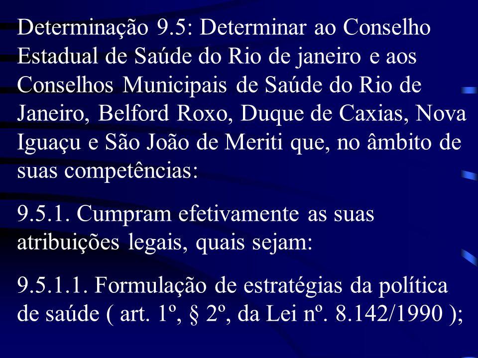Determinação 9.5: Determinar ao Conselho Estadual de Saúde do Rio de janeiro e aos Conselhos Municipais de Saúde do Rio de Janeiro, Belford Roxo, Duqu
