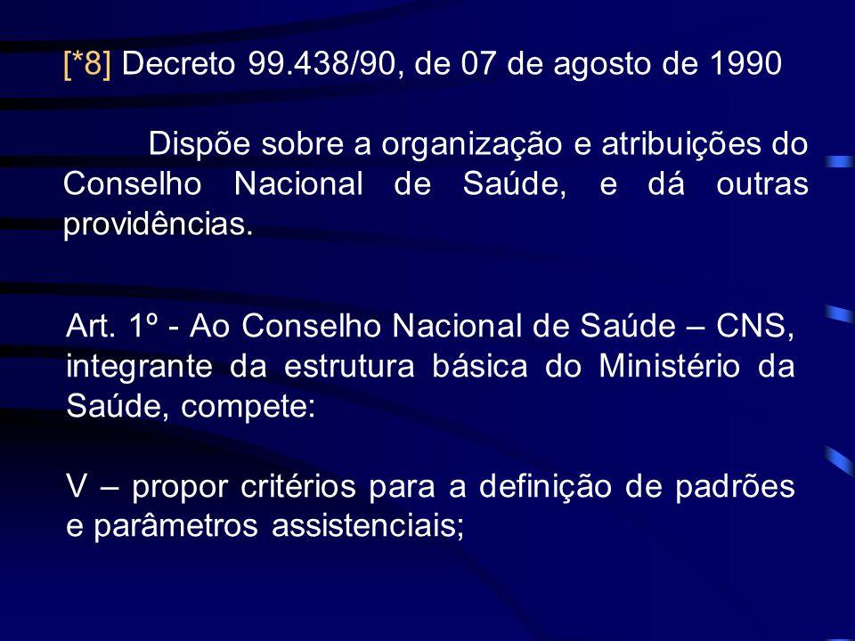 [*8] Decreto 99.438/90, de 07 de agosto de 1990 Dispõe sobre a organização e atribuições do Conselho Nacional de Saúde, e dá outras providências. Art.