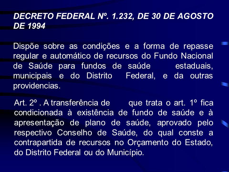 DECRETO FEDERAL Nº. 1.232, DE 30 DE AGOSTO DE 1994 Dispõe sobre as condições e a forma de repasse regular e automático de recursos do Fundo Nacional d