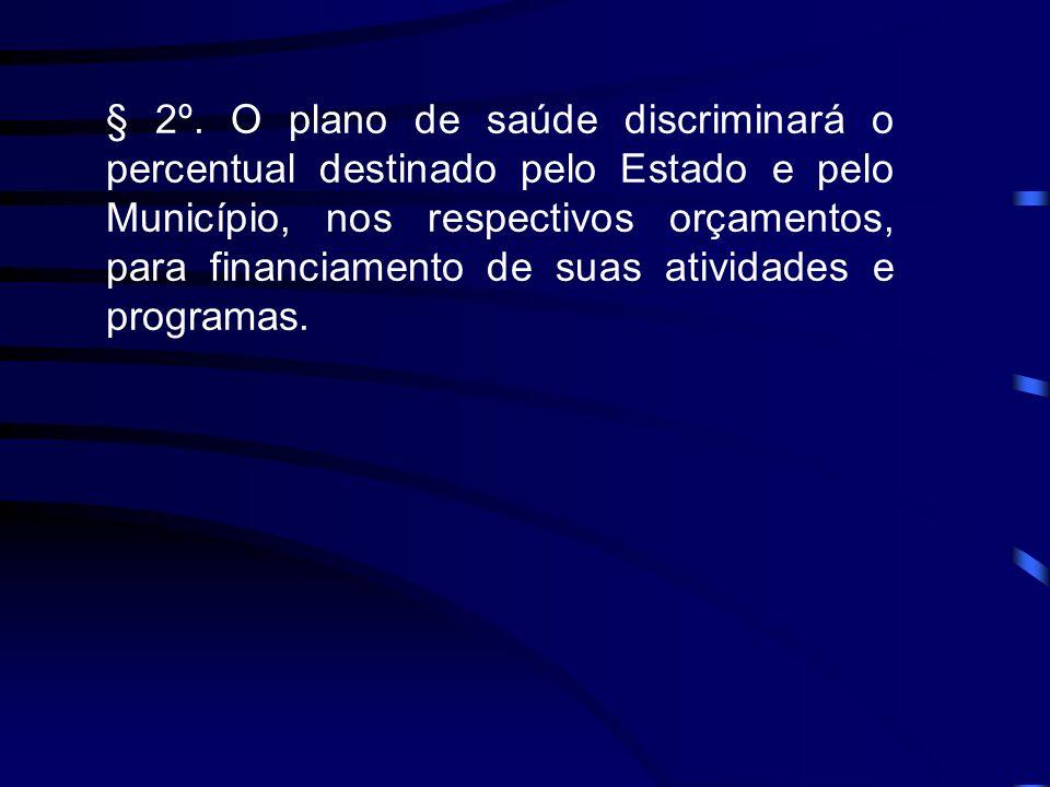 § 2º. O plano de saúde discriminará o percentual destinado pelo Estado e pelo Município, nos respectivos orçamentos, para financiamento de suas ativid
