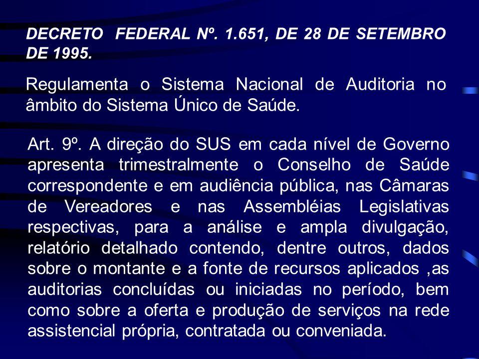 DECRETO FEDERAL Nº. 1.651, DE 28 DE SETEMBRO DE 1995. Regulamenta o Sistema Nacional de Auditoria no âmbito do Sistema Único de Saúde. Art. 9º. A dire