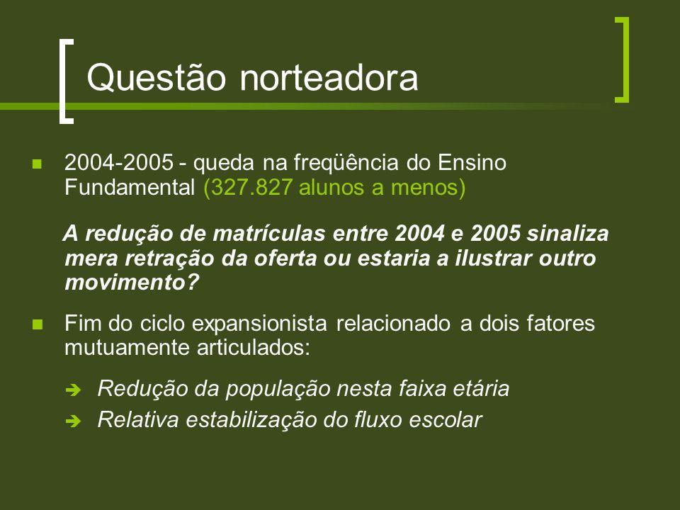 Questão norteadora 2004-2005 - queda na freqüência do Ensino Fundamental (327.827 alunos a menos) A redução de matrículas entre 2004 e 2005 sinaliza m