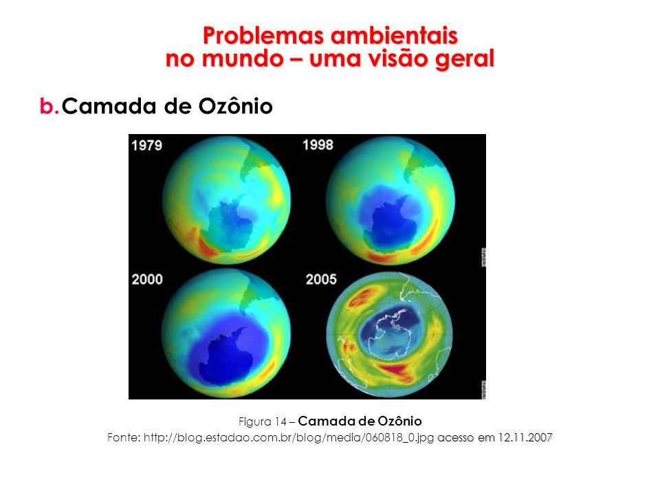 Problemas ambientais no mundo – uma visão geral b.Camada de Ozônio Figura 14 – Camada de Ozônio acesso em 12.11.2007 Fonte: http://blog.estadao.com.br