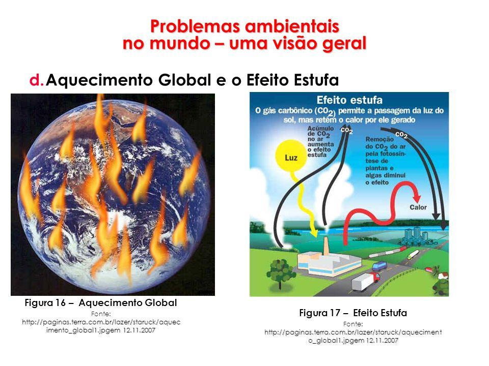 Problemas ambientais no mundo – uma visão geral d.Aquecimento Global e o Efeito Estufa Figura 16 – Aquecimento Global http://paginas.terra.com.br/laze