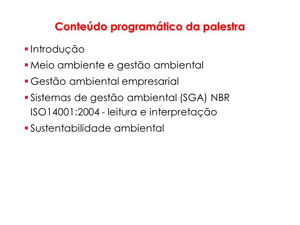 Conteúdo programático da palestra Introdução Meio ambiente e gestão ambiental Gestão ambiental empresarial Sistemas de gestão ambiental (SGA) NBR ISO1