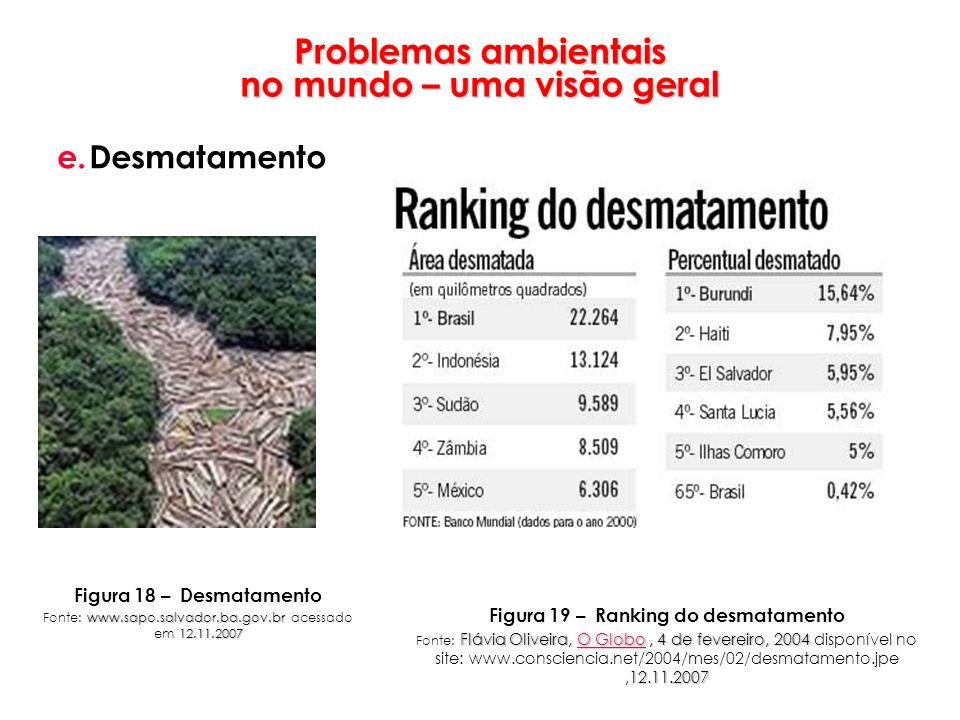 Problemas ambientais no mundo – uma visão geral e.Desmatamento Figura 18 – Desmatamento www.sapo.salvador.ba.gov.br 12.11.2007 Fonte: www.sapo.salvado