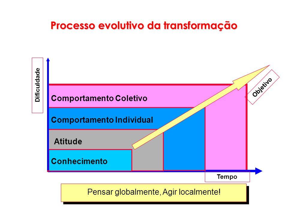 Processo evolutivo da transformação Conhecimento Atitude Comportamento Individual Comportamento Coletivo Objetivo Tempo Dificuldade Pensar globalmente